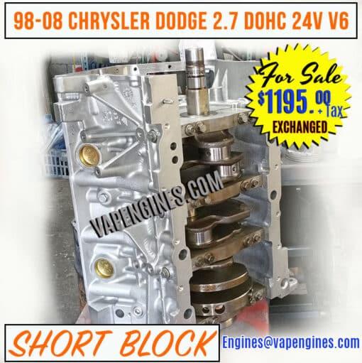 Dodge 2.7 Engine Short Block for sale