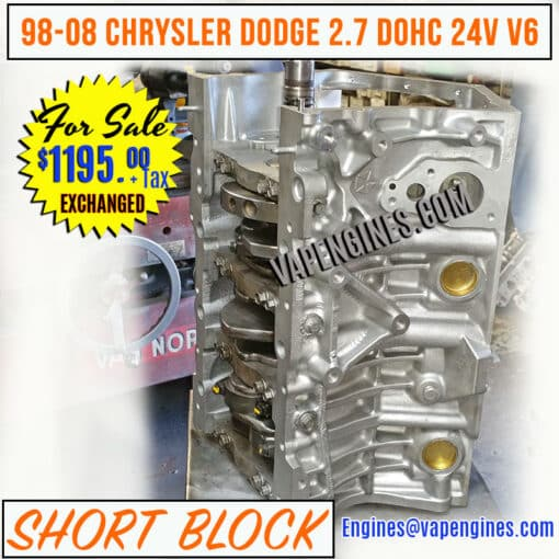 98-08 Chrysler Dodge 2.7 Engine Short Block