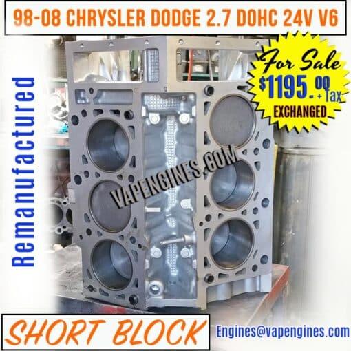 Chrysler Dodge 2.7 Engine Short Block