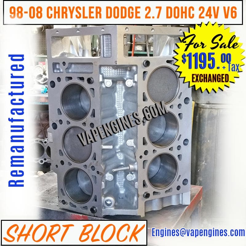 Chrysler Dodge 2.7 Engine Short Block